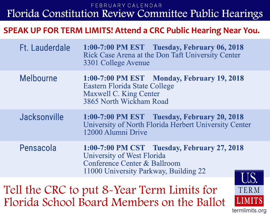 Florida Constitution Review Commission February Schedule
