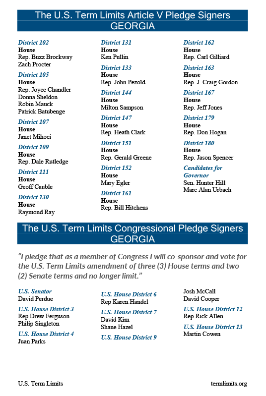 2018 Georgia U.S. Term Limits pledge signers