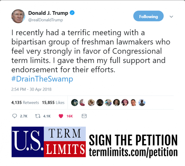 Trump Tweet endorsing term limits