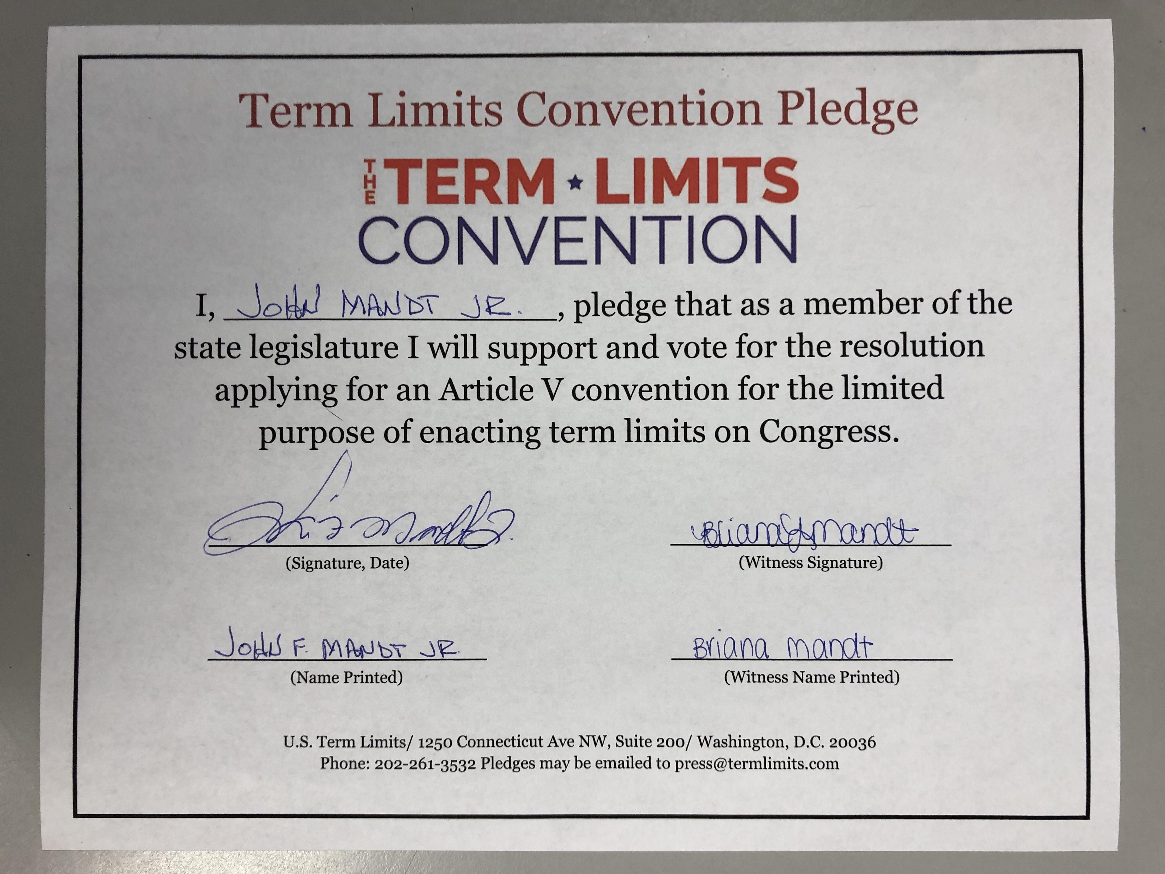 Us Term Limits Praises John Mandt Jr For Signing Pledge Us