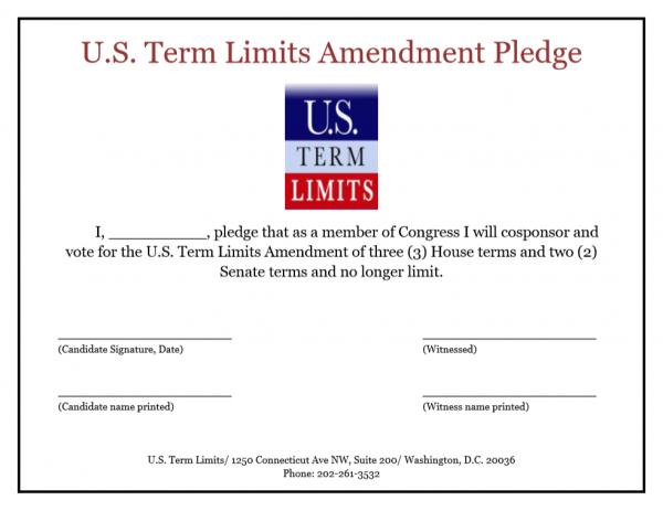 U.S. Term Limits Blank Congress Pledge