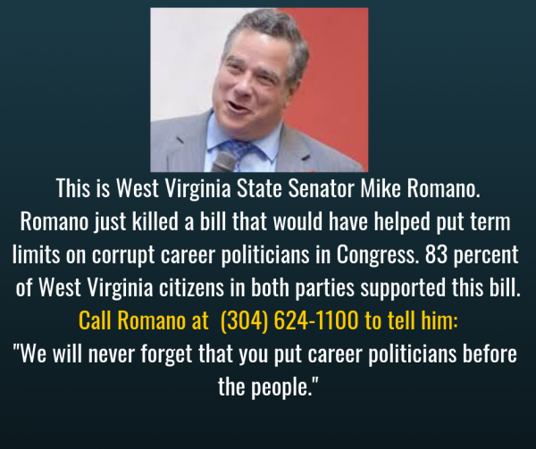 WV Sen. Romano killed term limits on Congress resolution with a filibuster in 2019